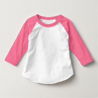 Raglán rosado del niño y del blanco de neón 3/4 de playera