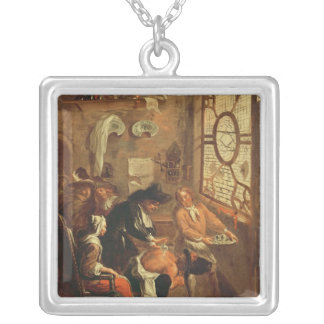 Ragotin Treated with a Cupping Glass Square Pendant Necklace