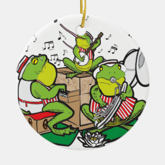 RAGTIME FROGS CERAMIC ORNAMENT