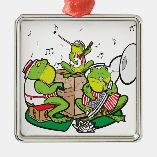 RAGTIME FROGS METAL ORNAMENT