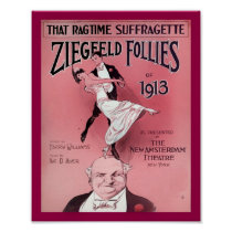Ragtime Suffragette 1910's Sheet Music Cover Copy Poster