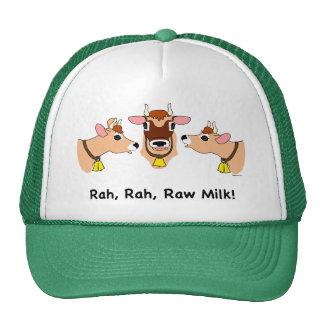 ¡Rah, Rah, leche cruda! Gorros Bordados
