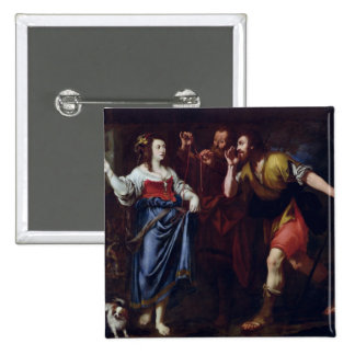 Rahab and the Emissaries of Joshua 2 Inch Square Button
