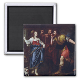 Rahab and the Emissaries of Joshua 2 Inch Square Magnet