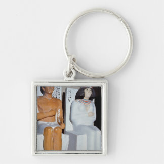 Rahotep and his Wife, Nofret, from Meydum Silver-Colored Square Keychain