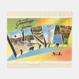 Rahway New Jersey NJ Old Vintage Travel Postcard- Fleece Blanket