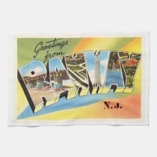 Rahway New Jersey NJ Old Vintage Travel Postcard- Hand Towel