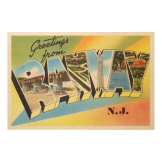 Rahway New Jersey NJ Old Vintage Travel Postcard- Wood Wall Art