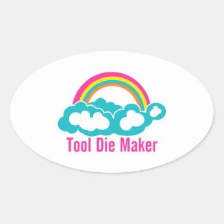 Raibow Cloud Tool Die Maker Oval Sticker