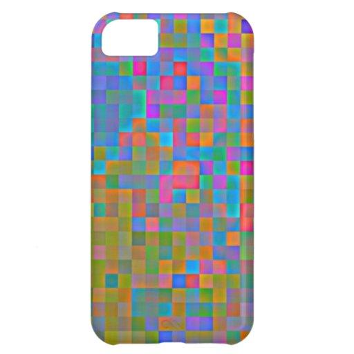 Raibow coloreó cuadrados funda para iPhone 5C