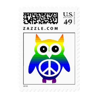 Raibow Peace Owl Postage