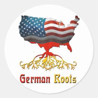 Raíces alemanas americanas pegatina redonda