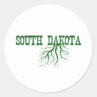 Raíces de Dakota del Sur Pegatina Redonda