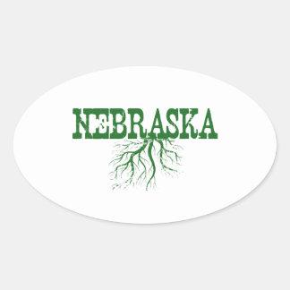 Raíces de Nebraska Pegatina Oval Personalizadas