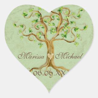 Raíces del árbol del remolino Antiqued casando los Pegatina En Forma De Corazón