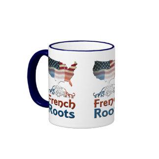 Raíces francesas americanas taza de dos colores