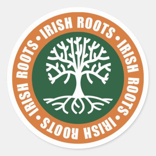 Raíces irlandesas pegatina redonda
