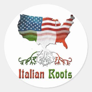 Raíces italianas americanas pegatina redonda