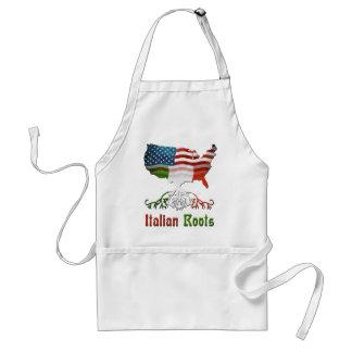 Raíces italianas, delantal americano del mapa