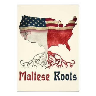 Raíces maltesas americanas invitación 12,7 x 17,8 cm