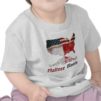 Raíces maltesas americanas camisetas