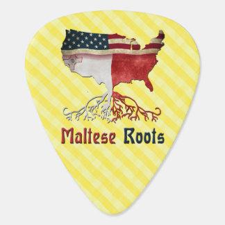 Raíces maltesas americanas plumilla de guitarra