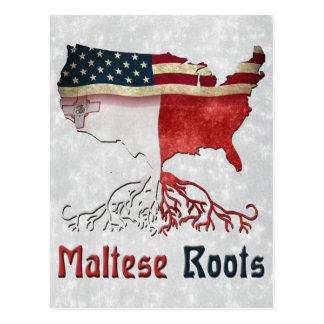 Raíces maltesas americanas postal
