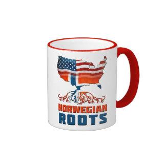 Raíces noruegas americanas taza de dos colores