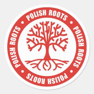 Raíces polacas etiquetas redondas
