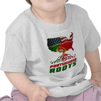 Raíces portuguesas americanas camisetas