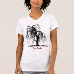 Raíces profundas negras del sauce de la naturaleza camisetas