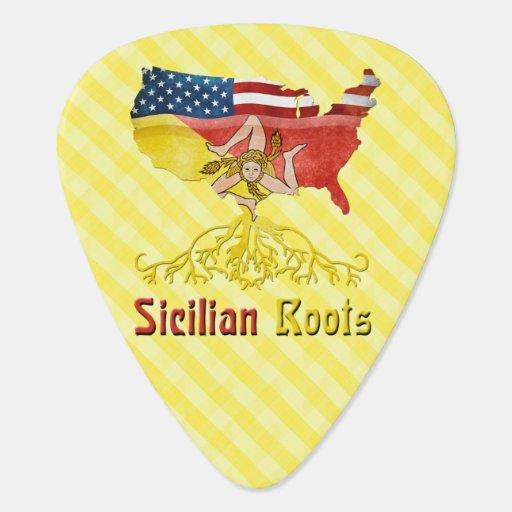Raíces sicilianas americanas púa de guitarra