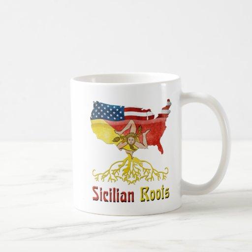 Raíces sicilianas americanas tazas de café
