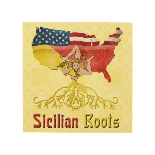Raíces sicilianas americanas impresiones en madera