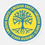 Raíces suecas etiquetas redondas