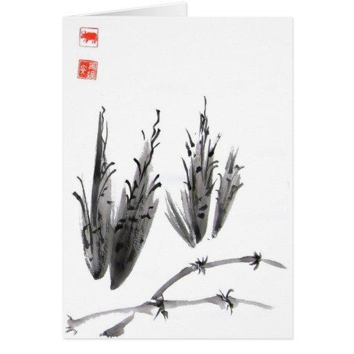 Raíces y tarjeta de bambú del arte de la tinta de