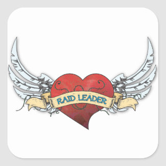 RAID LEADER Tattoo - Heart and Wings Square Sticker