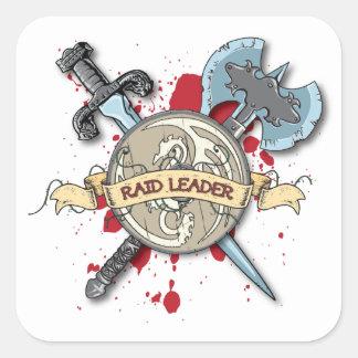 RAID LEADER Tattoo - Sword, Axe, and Shield Square Sticker