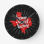 Raider Red and Black Home Sweet Home – Texas Round Clock