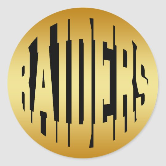 RAIDERS - GOLD TEXT CLASSIC ROUND STICKER
