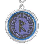 """""""raidho"""" elder futhark round pendant necklace"""