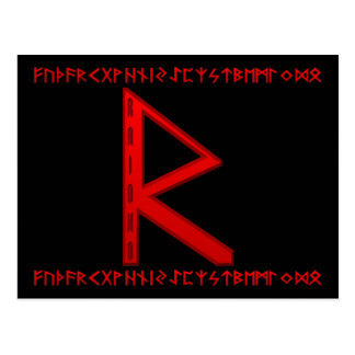 Raidho Rune red Postcard