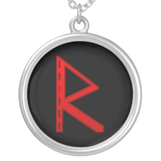 Raidho Rune red Silver Plated Necklace