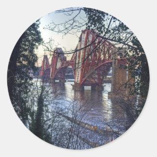 Rail Bridge through the trees Classic Round Sticker