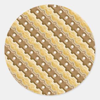 Rail Fence - Chocolate Marshmallow Classic Round Sticker
