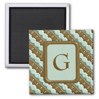 Rail Fence - Chocolate Mint 2 Inch Square Magnet