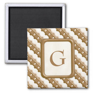 Rail Fence - Milk Chocolate and White Chocolate 2 Inch Square Magnet
