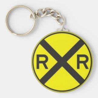 RAIL ROAD CROSSING BASIC ROUND BUTTON KEYCHAIN