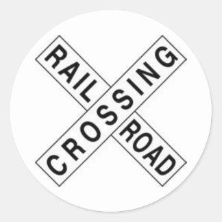 RAIL ROAD CROSSING ROUND STICKER