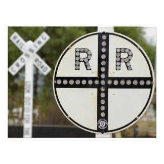 Rail Road Crossing Signs Photographic Print